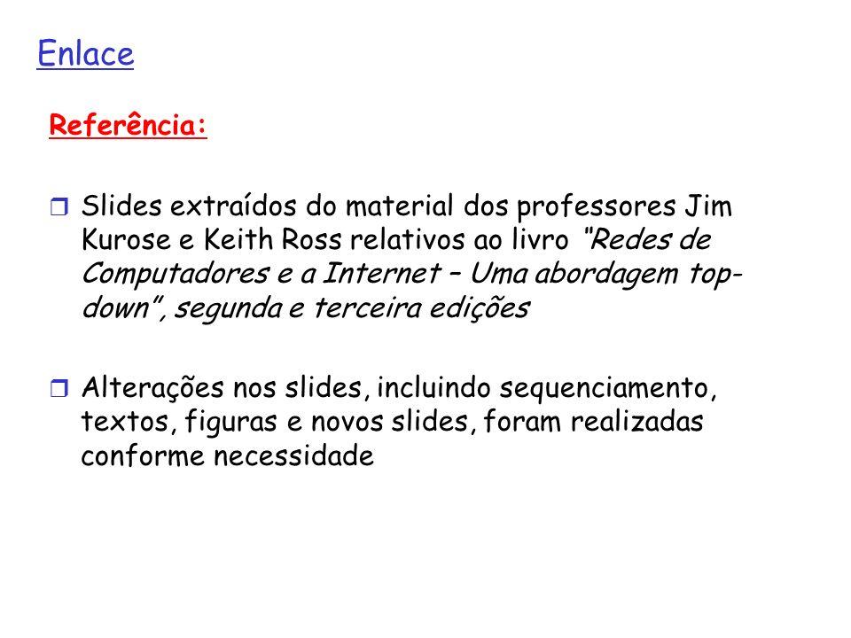 Enlace Referência: Slides extraídos do material dos professores Jim Kurose e Keith Ross relativos ao livro Redes de Computadores e a Internet – Uma ab