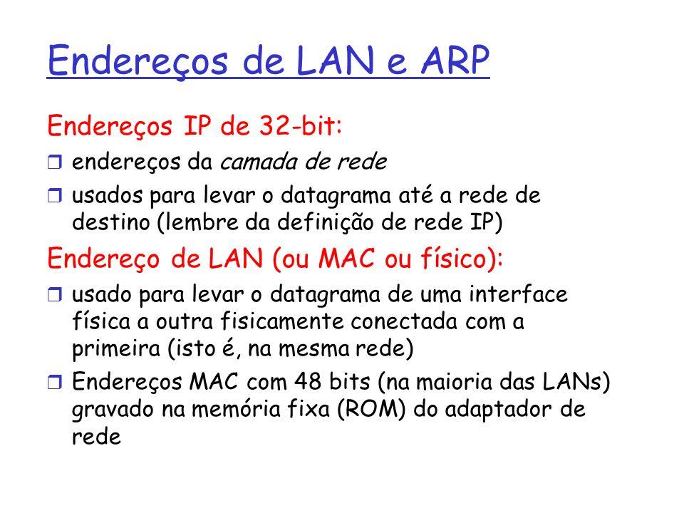 Endereços de LAN e ARP Endereços IP de 32-bit: endereços da camada de rede usados para levar o datagrama até a rede de destino (lembre da definição de