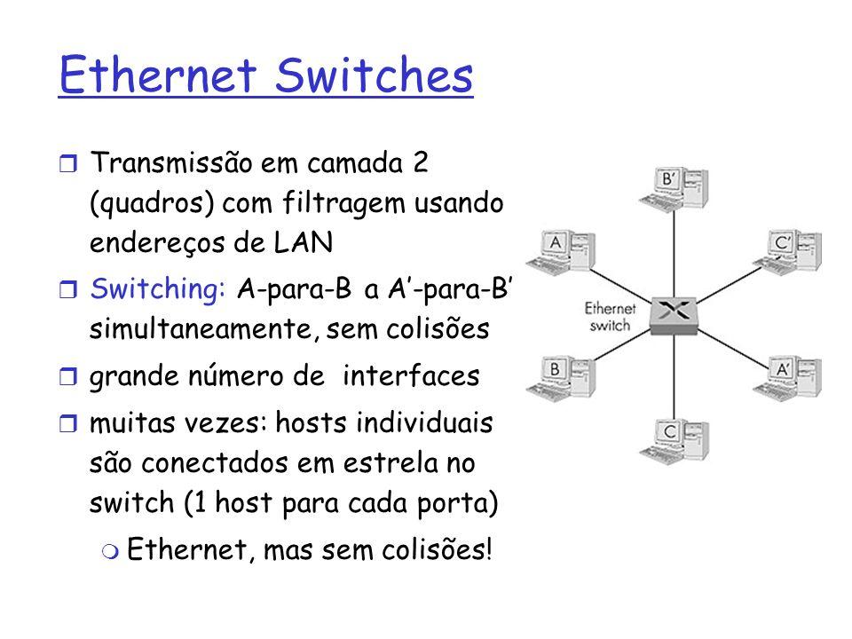 Ethernet Switches Transmissão em camada 2 (quadros) com filtragem usando endereços de LAN Switching: A-para-B a A-para-B simultaneamente, sem colisões