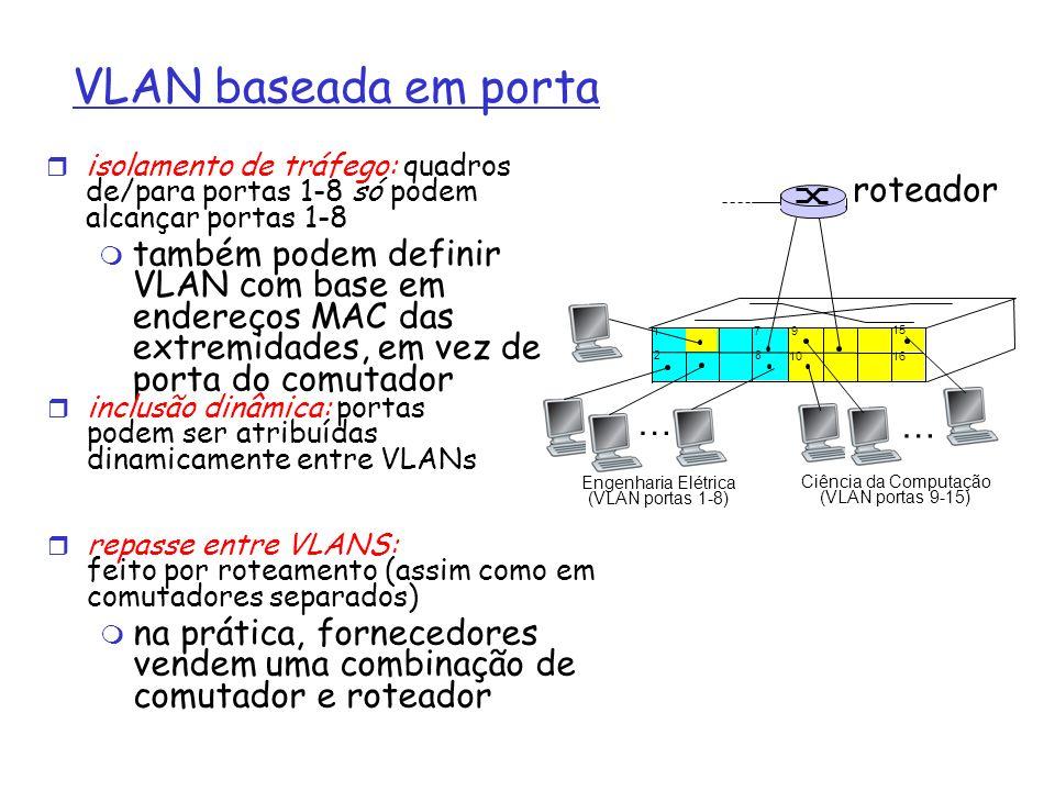 VLAN baseada em porta 1 8 9 1610 2 7 … Engenharia Elétrica (VLAN portas 1-8) Ciência da Computação (VLAN portas 9-15) 15 … isolamento de tráfego: quad