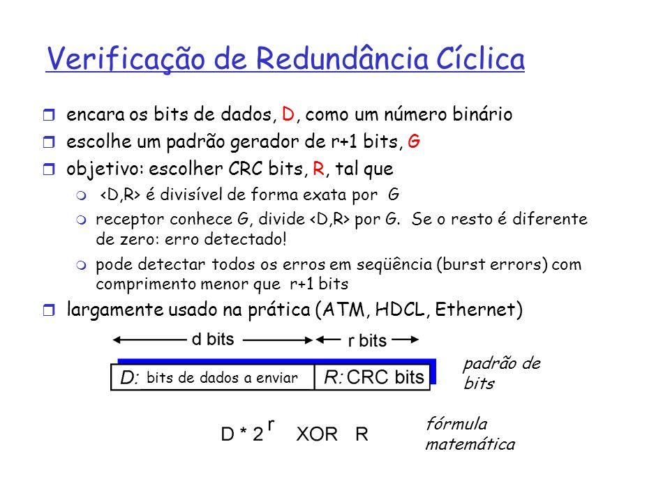 Verificação de Redundância Cíclica encara os bits de dados, D, como um número binário escolhe um padrão gerador de r+1 bits, G objetivo: escolher CRC