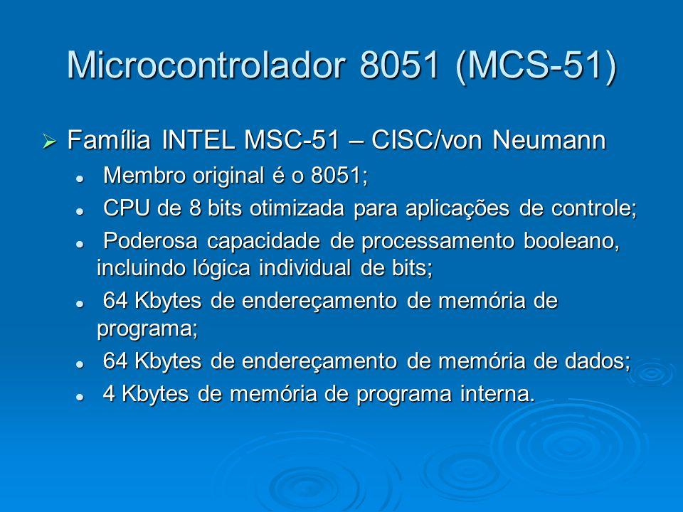 Microcontrolador 8051 (MCS-51) Família INTEL MSC-51 – CISC/von Neumann Família INTEL MSC-51 – CISC/von Neumann Membro original é o 8051; Membro original é o 8051; CPU de 8 bits otimizada para aplicações de controle; CPU de 8 bits otimizada para aplicações de controle; Poderosa capacidade de processamento booleano, incluindo lógica individual de bits; Poderosa capacidade de processamento booleano, incluindo lógica individual de bits; 64 Kbytes de endereçamento de memória de programa; 64 Kbytes de endereçamento de memória de programa; 64 Kbytes de endereçamento de memória de dados; 64 Kbytes de endereçamento de memória de dados; 4 Kbytes de memória de programa interna.