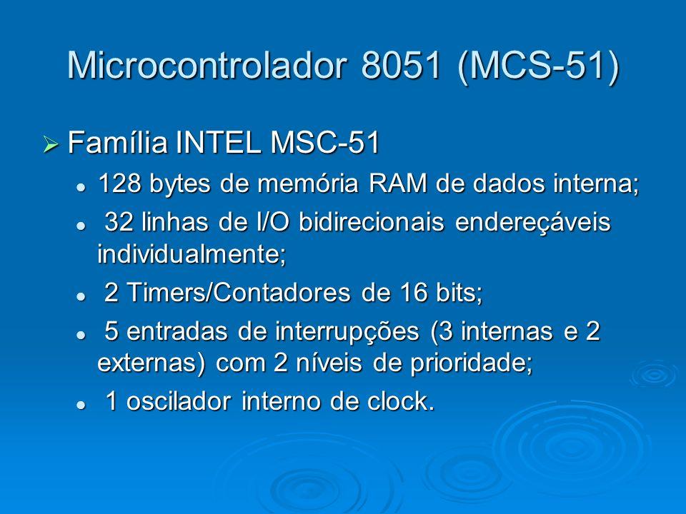 Microcontrolador 8051 (MCS-51) Família INTEL MSC-51 Família INTEL MSC-51 128 bytes de memória RAM de dados interna; 128 bytes de memória RAM de dados interna; 32 linhas de I/O bidirecionais endereçáveis individualmente; 32 linhas de I/O bidirecionais endereçáveis individualmente; 2 Timers/Contadores de 16 bits; 2 Timers/Contadores de 16 bits; 5 entradas de interrupções (3 internas e 2 externas) com 2 níveis de prioridade; 5 entradas de interrupções (3 internas e 2 externas) com 2 níveis de prioridade; 1 oscilador interno de clock.