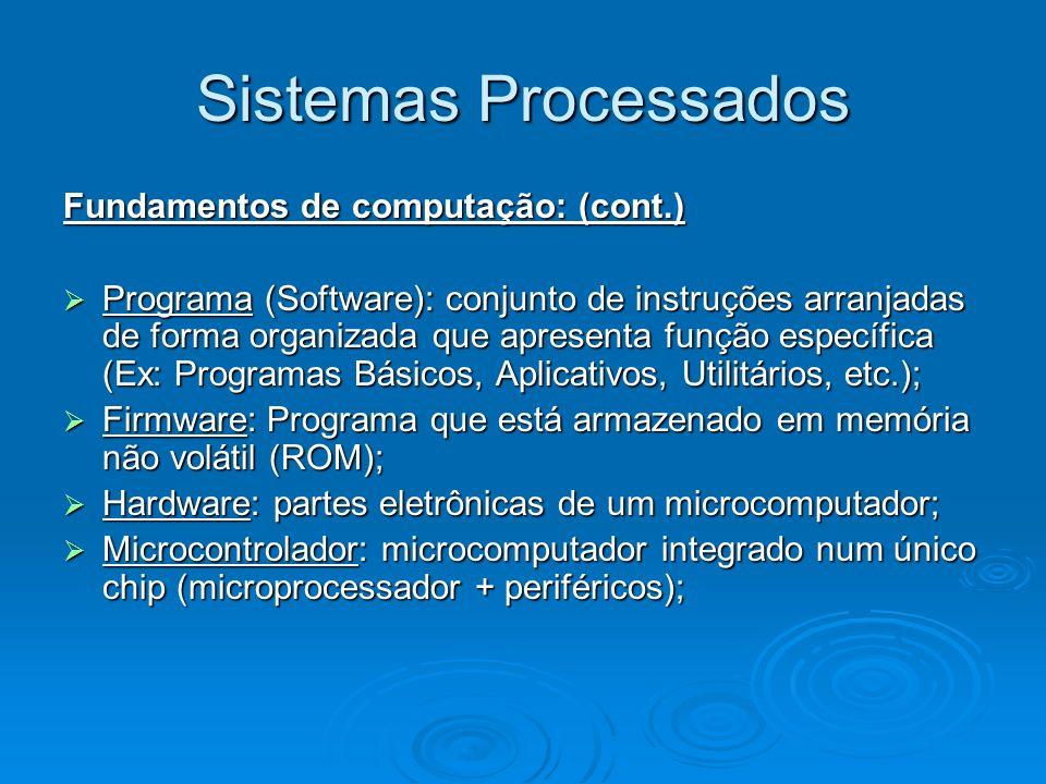 Sistemas Processados Fundamentos de computação: (cont.) Programa (Software): conjunto de instruções arranjadas de forma organizada que apresenta função específica (Ex: Programas Básicos, Aplicativos, Utilitários, etc.); Programa (Software): conjunto de instruções arranjadas de forma organizada que apresenta função específica (Ex: Programas Básicos, Aplicativos, Utilitários, etc.); Firmware: Programa que está armazenado em memória não volátil (ROM); Firmware: Programa que está armazenado em memória não volátil (ROM); Hardware: partes eletrônicas de um microcomputador; Hardware: partes eletrônicas de um microcomputador; Microcontrolador: microcomputador integrado num único chip (microprocessador + periféricos); Microcontrolador: microcomputador integrado num único chip (microprocessador + periféricos);