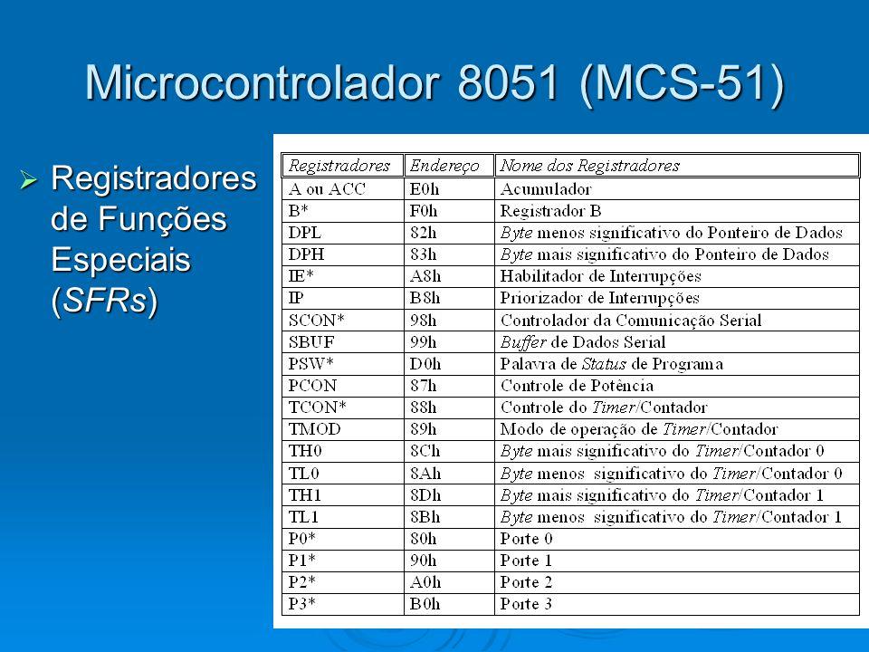 Microcontrolador 8051 (MCS-51) Registradores de Funções Especiais (SFRs) Registradores de Funções Especiais (SFRs)