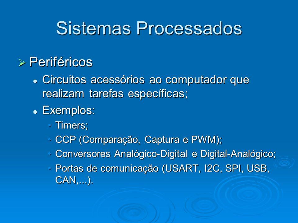 Sistemas Processados Periféricos Periféricos Circuitos acessórios ao computador que realizam tarefas específicas; Circuitos acessórios ao computador que realizam tarefas específicas; Exemplos: Exemplos: Timers;Timers; CCP (Comparação, Captura e PWM);CCP (Comparação, Captura e PWM); Conversores Analógico-Digital e Digital-Analógico;Conversores Analógico-Digital e Digital-Analógico; Portas de comunicação (USART, I2C, SPI, USB, CAN,...).Portas de comunicação (USART, I2C, SPI, USB, CAN,...).