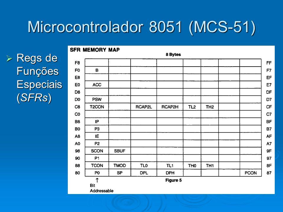 Microcontrolador 8051 (MCS-51) Regs de Funções Especiais (SFRs) Regs de Funções Especiais (SFRs)