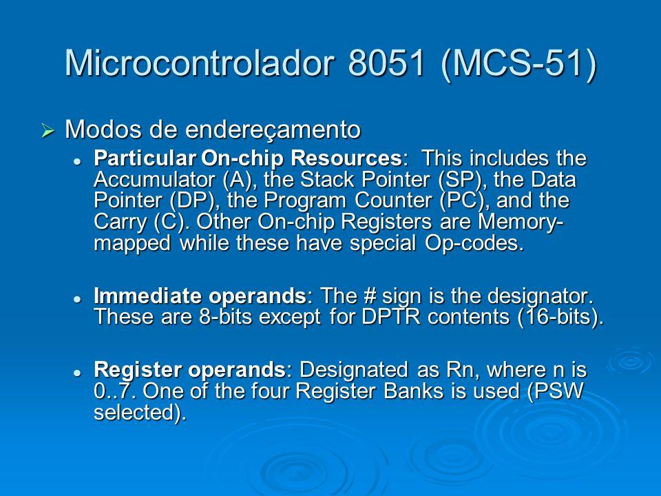 Microcontrolador 8051 (MCS-51) Modos de endereçamento Modos de endereçamento Particular On-chip Resources: This includes the Accumulator (A), the Stac