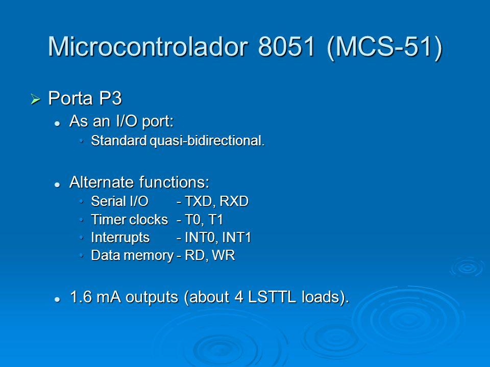 Microcontrolador 8051 (MCS-51) Porta P3 Porta P3 As an I/O port: As an I/O port: Standard quasi-bidirectional.Standard quasi-bidirectional. Alternate