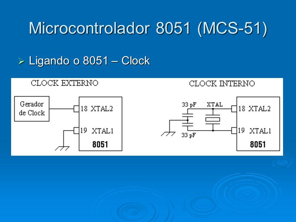 Microcontrolador 8051 (MCS-51) Ligando o 8051 – Clock Ligando o 8051 – Clock