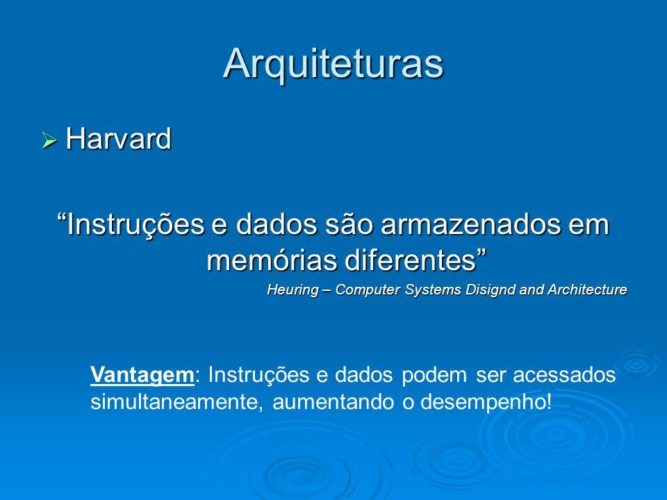 Arquiteturas Harvard Harvard Instruções e dados são armazenados em memórias diferentes Heuring – Computer Systems Disignd and Architecture Vantagem: Instruções e dados podem ser acessados simultaneamente, aumentando o desempenho!