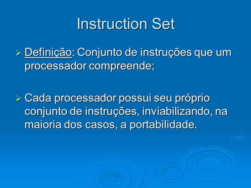 Instruction Set Definição: Conjunto de instruções que um processador compreende; Definição: Conjunto de instruções que um processador compreende; Cada processador possui seu próprio conjunto de instruções, inviabilizando, na maioria dos casos, a portabilidade.