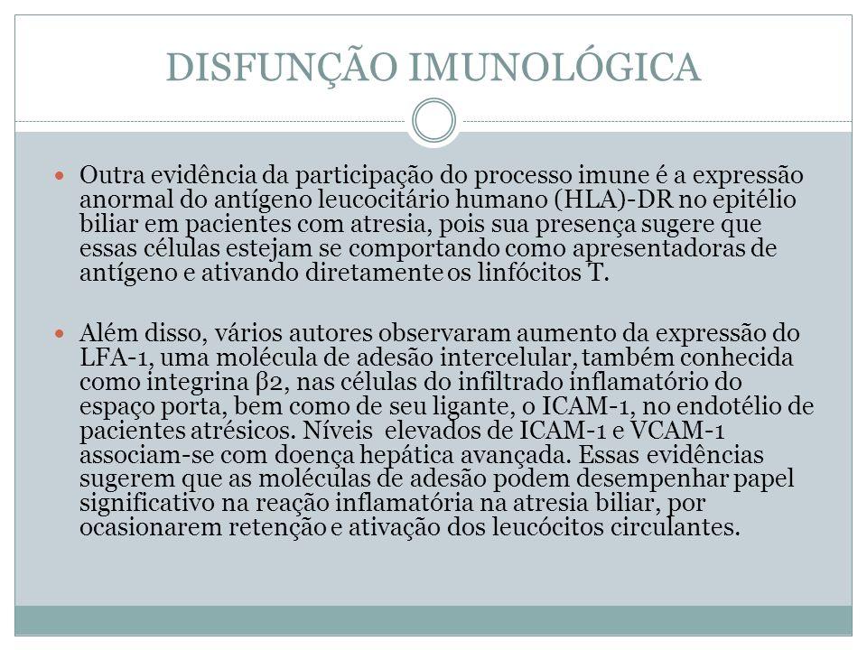 DISFUNÇÃO IMUNOLÓGICA Outra evidência da participação do processo imune é a expressão anormal do antígeno leucocitário humano (HLA)-DR no epitélio bil