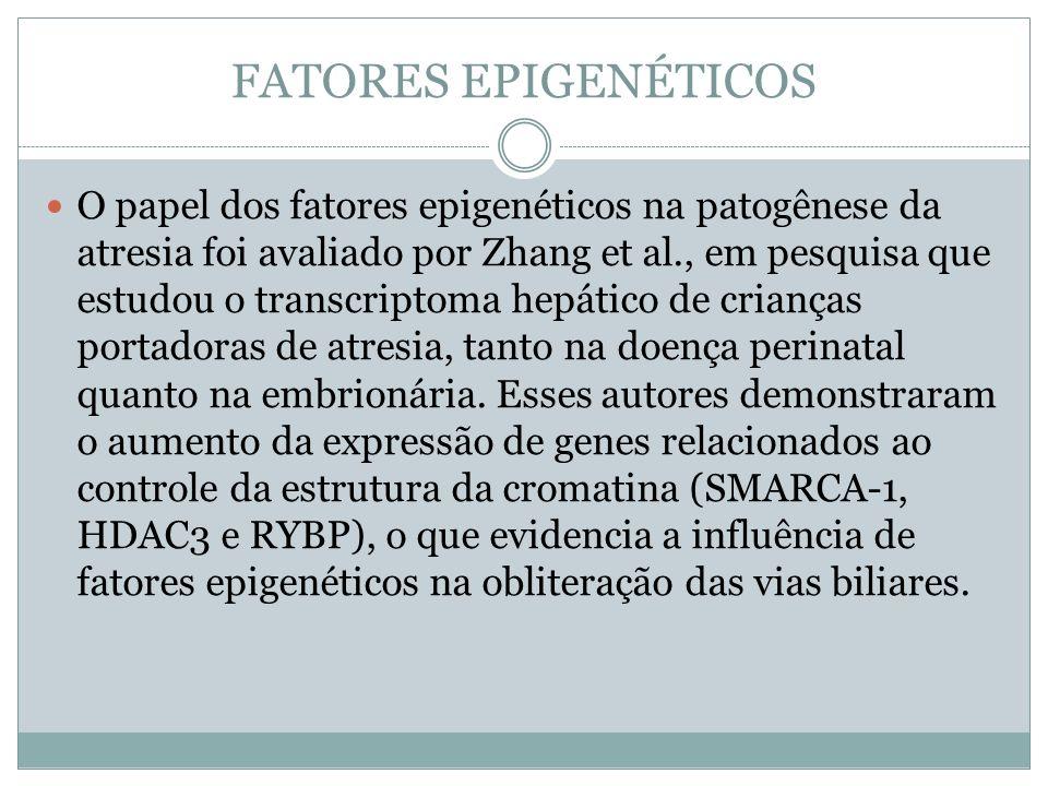 FATORES EPIGENÉTICOS O papel dos fatores epigenéticos na patogênese da atresia foi avaliado por Zhang et al., em pesquisa que estudou o transcriptoma