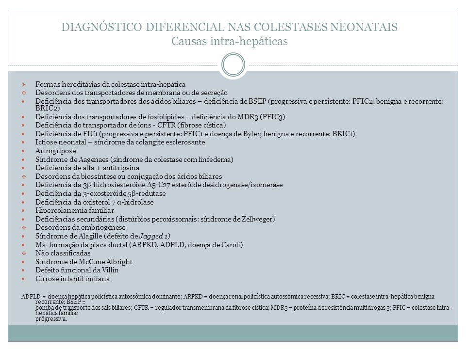 DIAGNÓSTICO DIFERENCIAL NAS COLESTASES NEONATAIS Causas intra-hepáticas Formas hereditárias da colestase intra-hepática Desordens dos transportadores