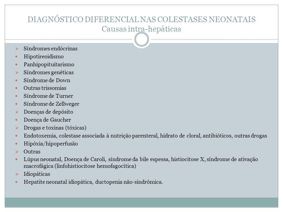 DIAGNÓSTICO DIFERENCIAL NAS COLESTASES NEONATAIS Causas intra-hepáticas Síndromes endócrinas Hipotireoidismo Panhipopituitarismo Síndromes genéticas S