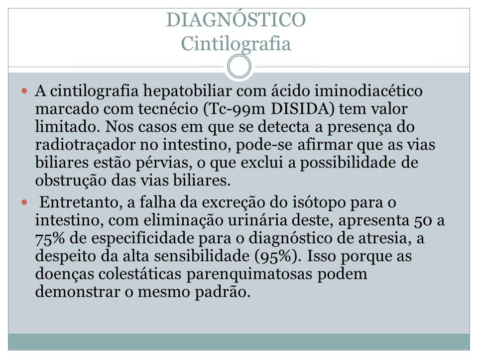 DIAGNÓSTICO Cintilografia A cintilografia hepatobiliar com ácido iminodiacético marcado com tecnécio (Tc-99m DISIDA) tem valor limitado. Nos casos em
