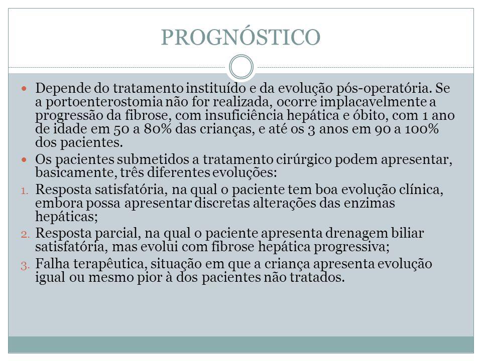 PROGNÓSTICO Depende do tratamento instituído e da evolução pós-operatória. Se a portoenterostomia não for realizada, ocorre implacavelmente a progress