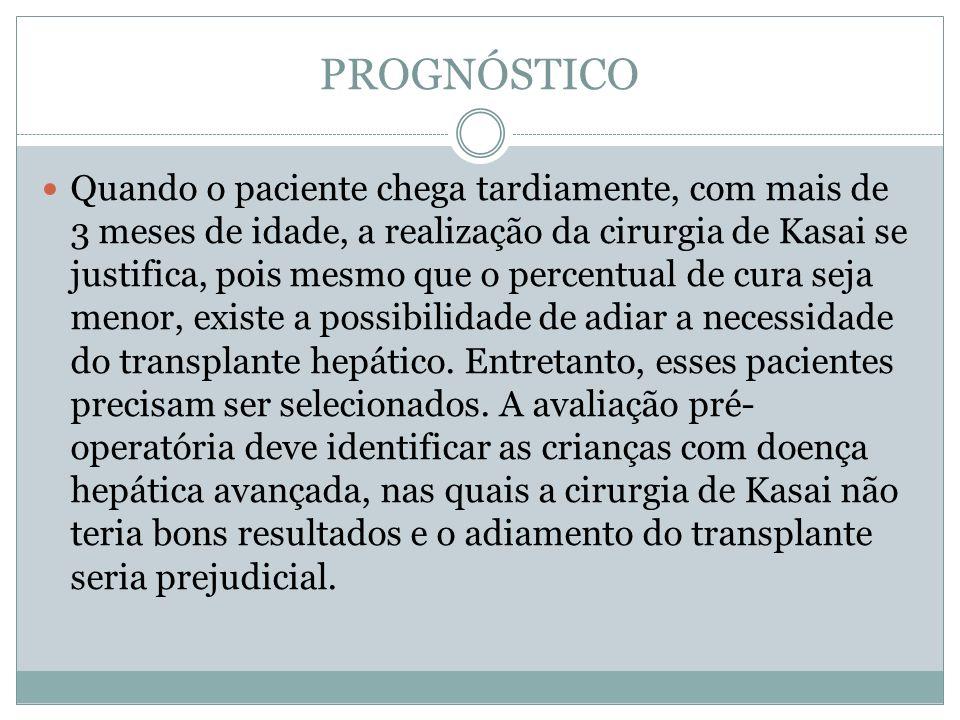 PROGNÓSTICO Quando o paciente chega tardiamente, com mais de 3 meses de idade, a realização da cirurgia de Kasai se justifica, pois mesmo que o percen