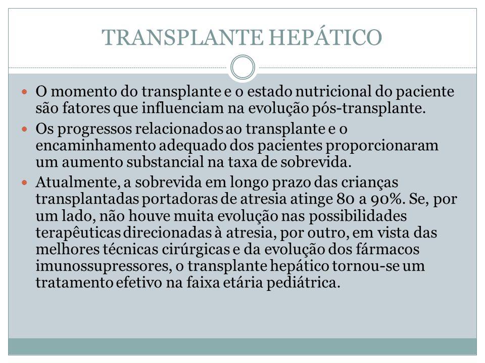 TRANSPLANTE HEPÁTICO O momento do transplante e o estado nutricional do paciente são fatores que influenciam na evolução pós-transplante. Os progresso