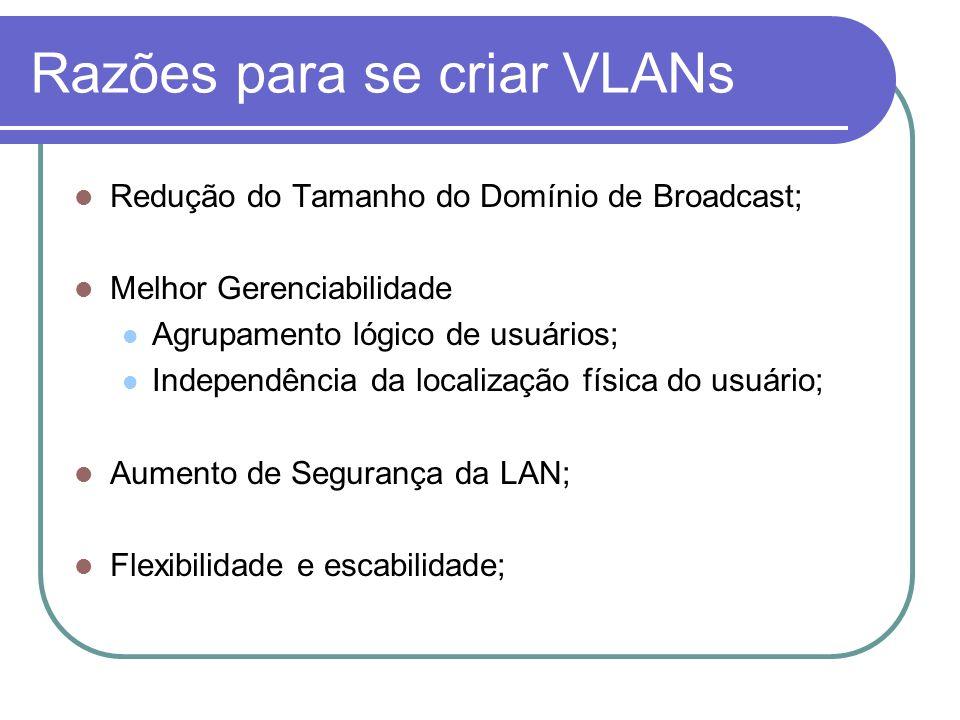 Razões para se criar VLANs Redução do Tamanho do Domínio de Broadcast; Melhor Gerenciabilidade Agrupamento lógico de usuários; Independência da locali