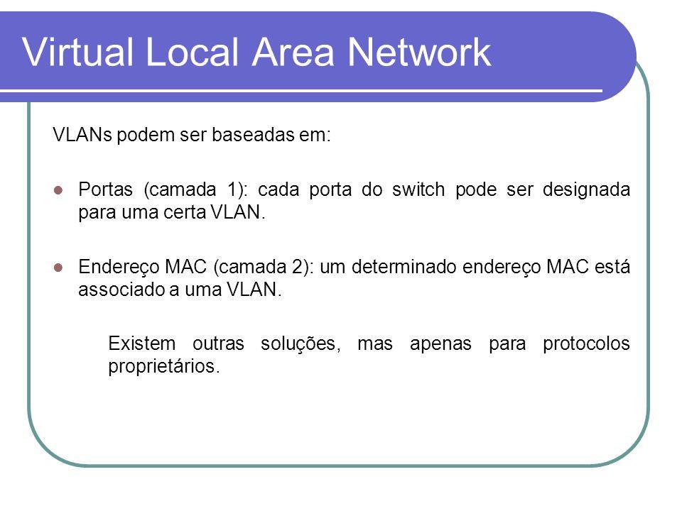 Virtual Local Area Network VLANs podem ser baseadas em: Portas (camada 1): cada porta do switch pode ser designada para uma certa VLAN. Endereço MAC (