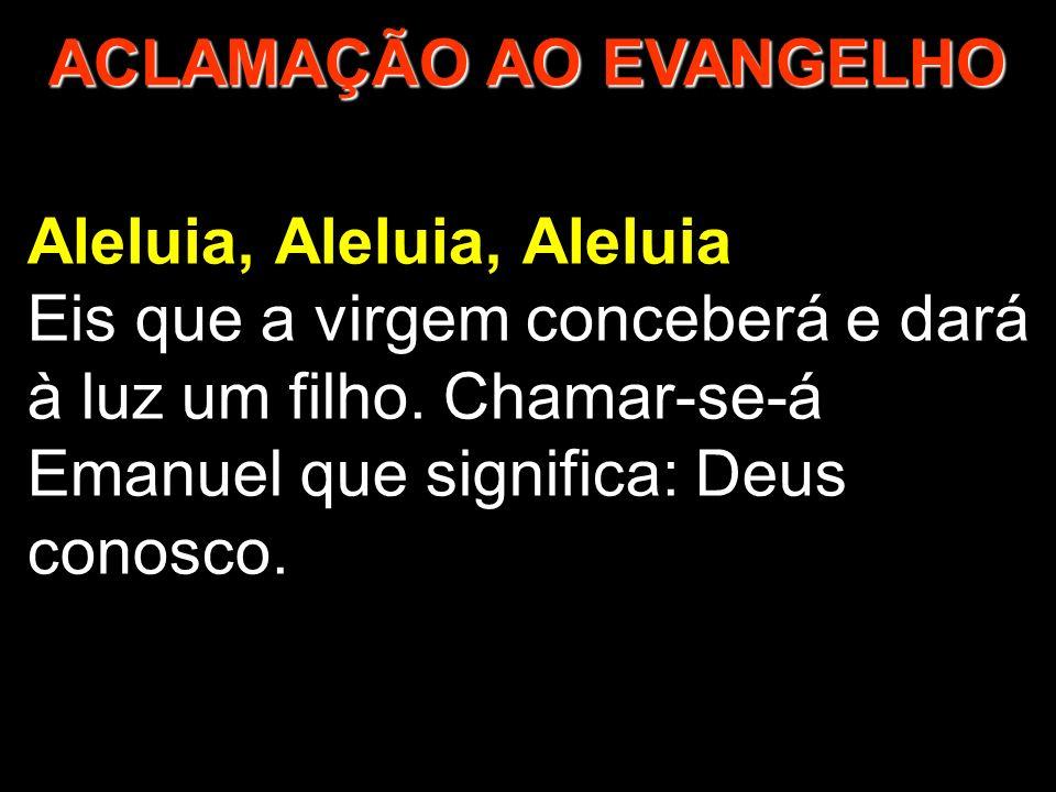 Aleluia, Aleluia, Aleluia Eis que a virgem conceberá e dará à luz um filho. Chamar-se-á Emanuel que significa: Deus conosco. ACLAMAÇÃO AO EVANGELHO