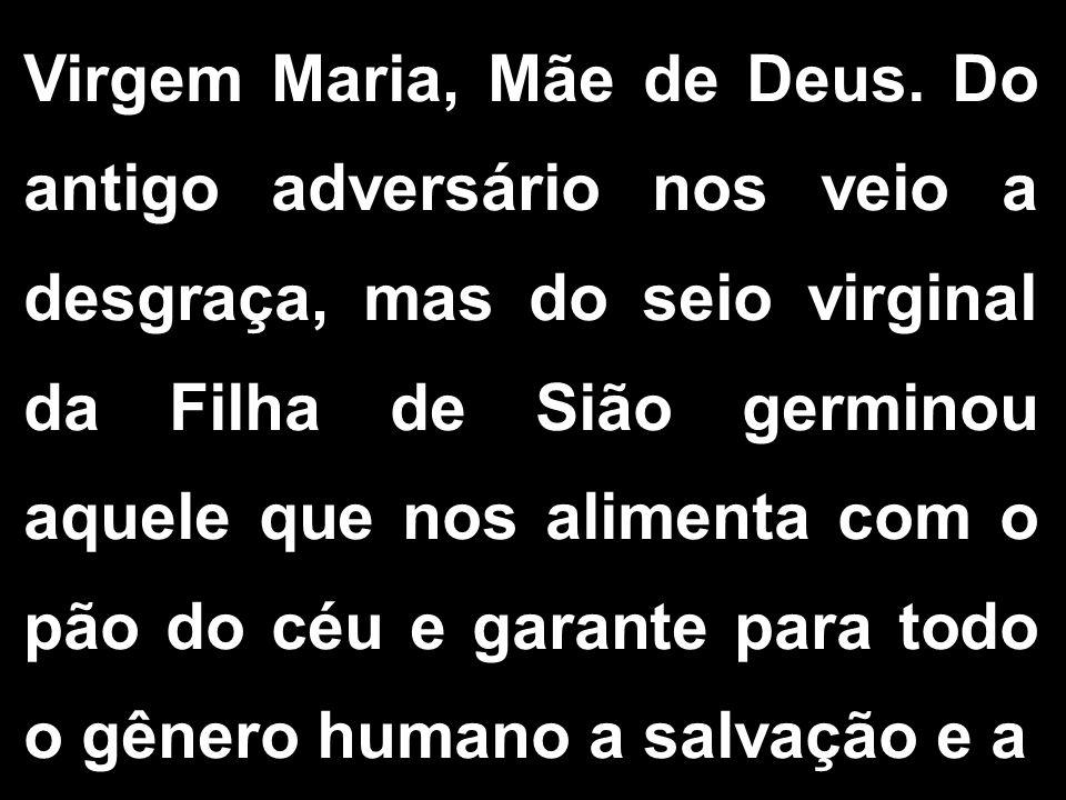 Virgem Maria, Mãe de Deus. Do antigo adversário nos veio a desgraça, mas do seio virginal da Filha de Sião germinou aquele que nos alimenta com o pão