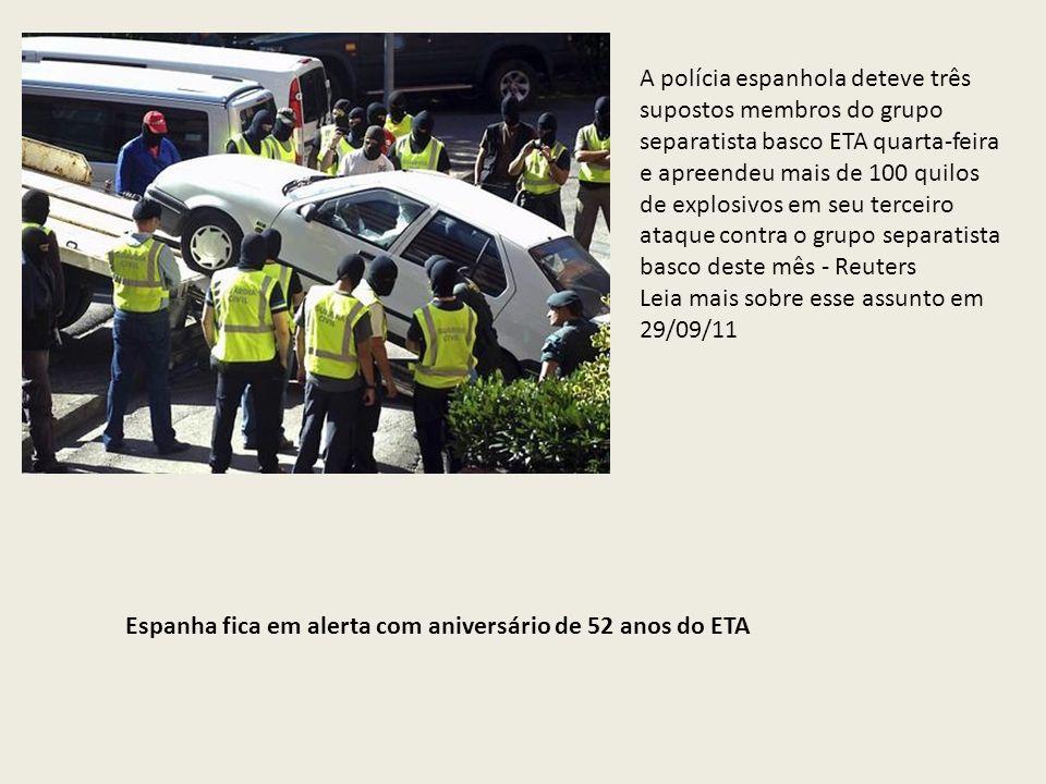 A polícia espanhola deteve três supostos membros do grupo separatista basco ETA quarta-feira e apreendeu mais de 100 quilos de explosivos em seu terce