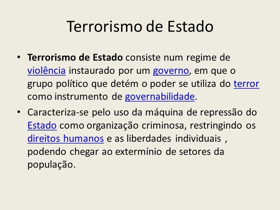 Terrorismo de Estado Terrorismo de Estado consiste num regime de violência instaurado por um governo, em que o grupo político que detém o poder se uti