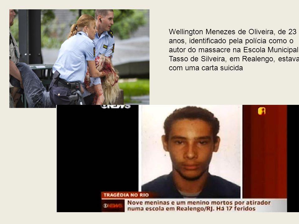 Wellington Menezes de Oliveira, de 23 anos, identificado pela polícia como o autor do massacre na Escola Municipal Tasso de Silveira, em Realengo, est