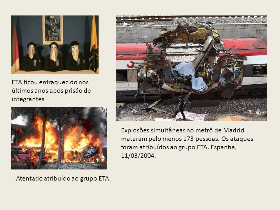 Explosões simultâneas no metrô de Madrid mataram pelo menos 173 pessoas. Os ataques foram atribuídos ao grupo ETA. Espanha, 11/03/2004. ETA ficou enfr