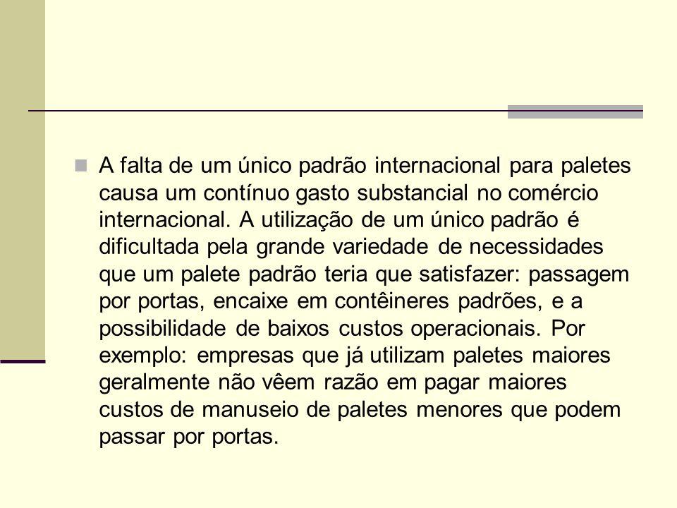 A falta de um único padrão internacional para paletes causa um contínuo gasto substancial no comércio internacional. A utilização de um único padrão é