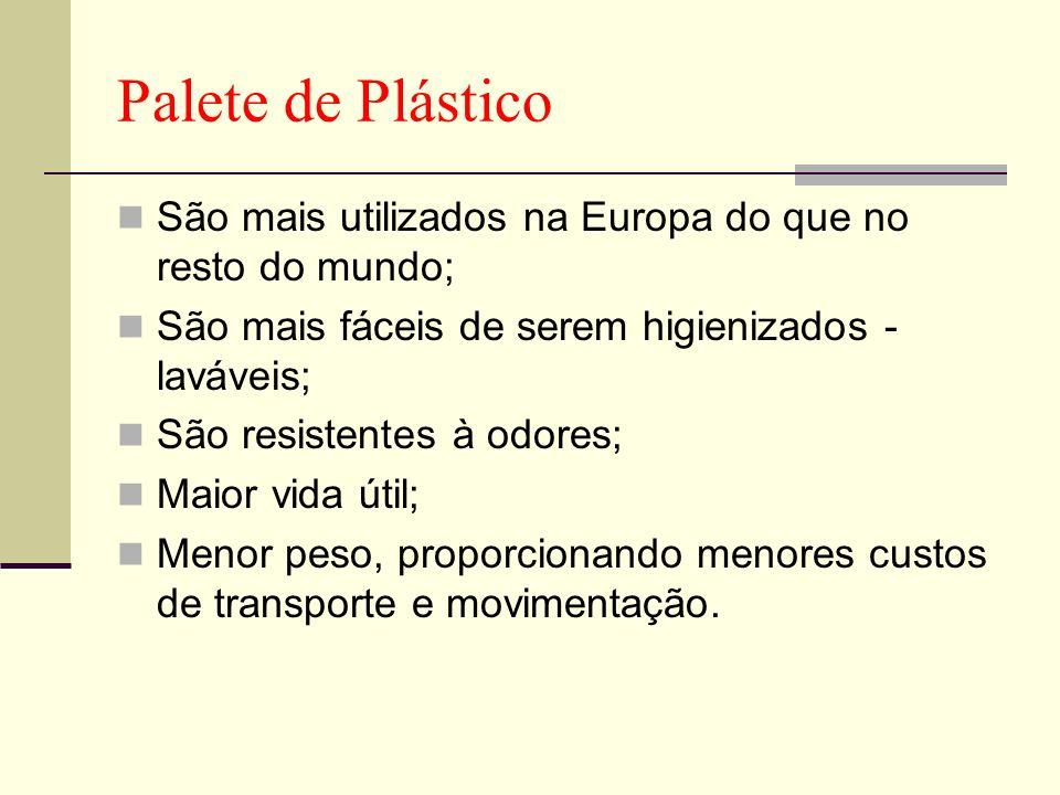 Palete de Plástico São mais utilizados na Europa do que no resto do mundo; São mais fáceis de serem higienizados - laváveis; São resistentes à odores;