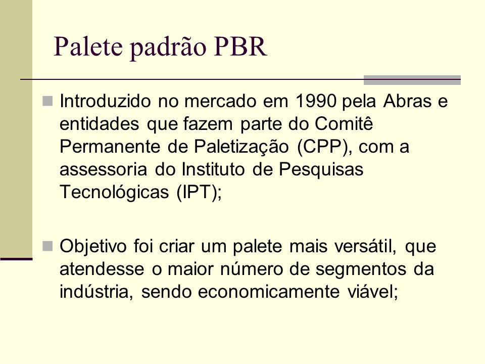 Palete padrão PBR Com a padronização da medida, em 1,00 x 1,20m, e da estrutura de construção, tornou- se economicamente viável a manutenção de estoques de paletes para venda futura; Em 2005, cerca de 40% do total de paletes vendidos pelas empresas credenciadas era no padrão PBR.