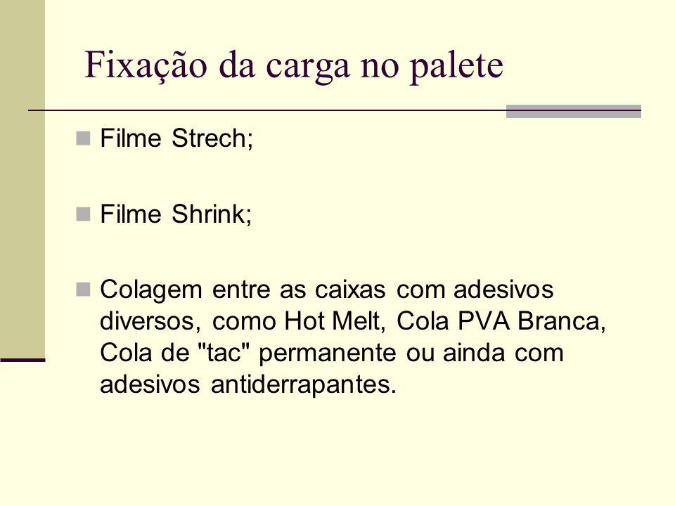 Fixação da carga no palete Filme Strech; Filme Shrink; Colagem entre as caixas com adesivos diversos, como Hot Melt, Cola PVA Branca, Cola de