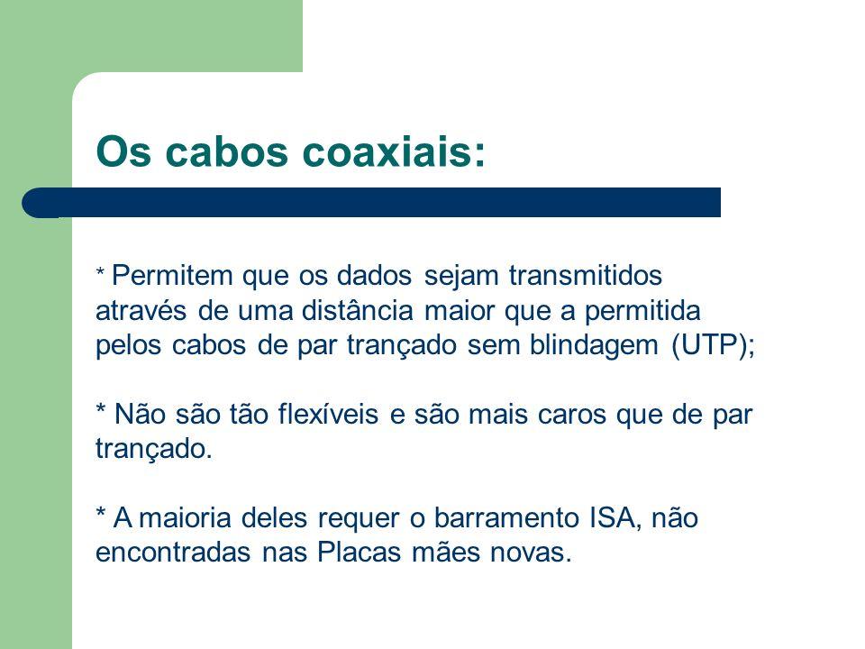 Os cabos coaxiais: * Permitem que os dados sejam transmitidos através de uma distância maior que a permitida pelos cabos de par trançado sem blindagem (UTP); * Não são tão flexíveis e são mais caros que de par trançado.