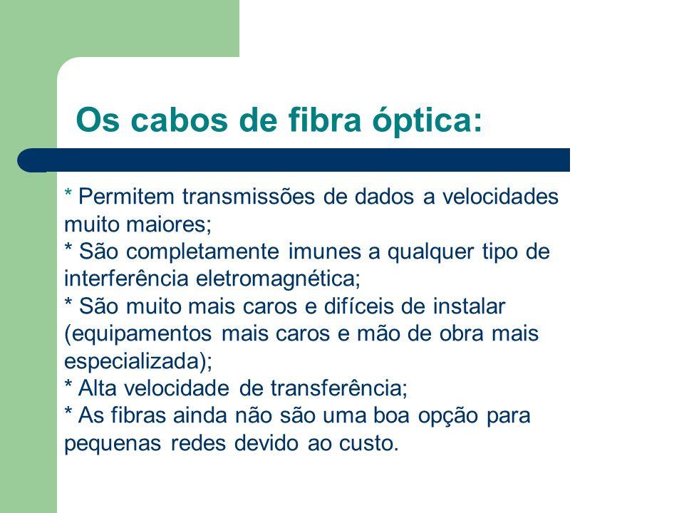 Os cabos de fibra óptica: * Permitem transmissões de dados a velocidades muito maiores; * São completamente imunes a qualquer tipo de interferência el