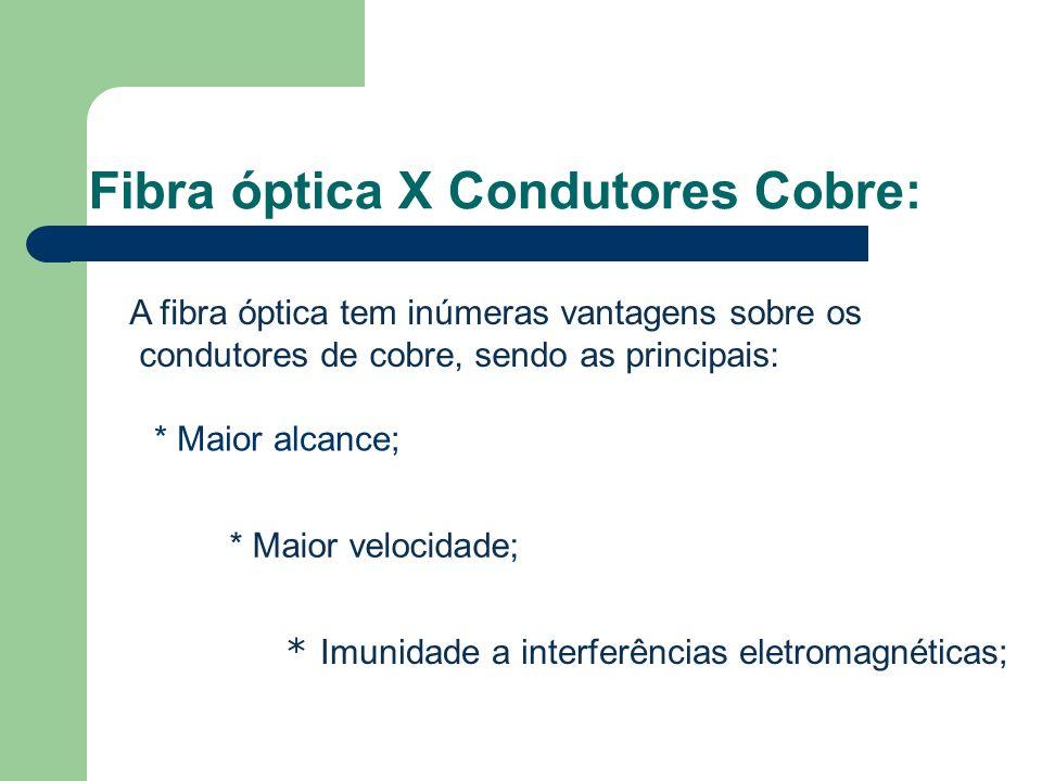 Fibra óptica X Condutores Cobre: A fibra óptica tem inúmeras vantagens sobre os condutores de cobre, sendo as principais: * Maior alcance; * Maior velocidade; * Imunidade a interferências eletromagnéticas;