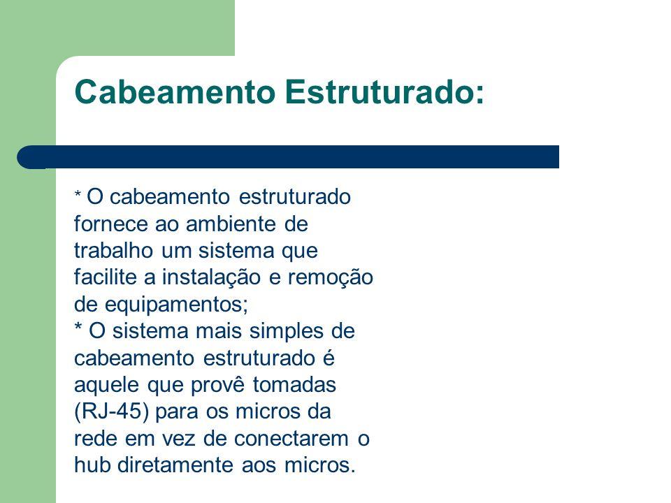 Cabeamento Estruturado: * O cabeamento estruturado fornece ao ambiente de trabalho um sistema que facilite a instalação e remoção de equipamentos; * O