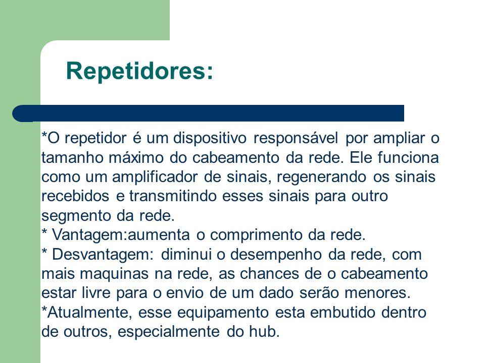 Repetidores: *O repetidor é um dispositivo responsável por ampliar o tamanho máximo do cabeamento da rede. Ele funciona como um amplificador de sinais