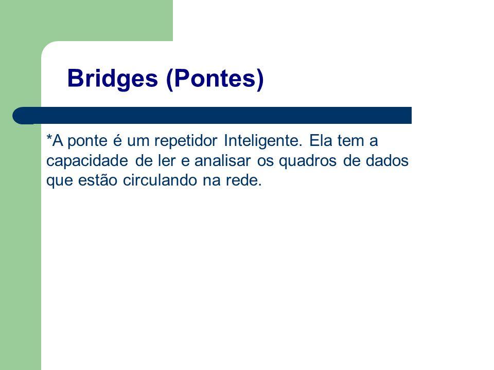 Bridges (Pontes) *A ponte é um repetidor Inteligente. Ela tem a capacidade de ler e analisar os quadros de dados que estão circulando na rede.
