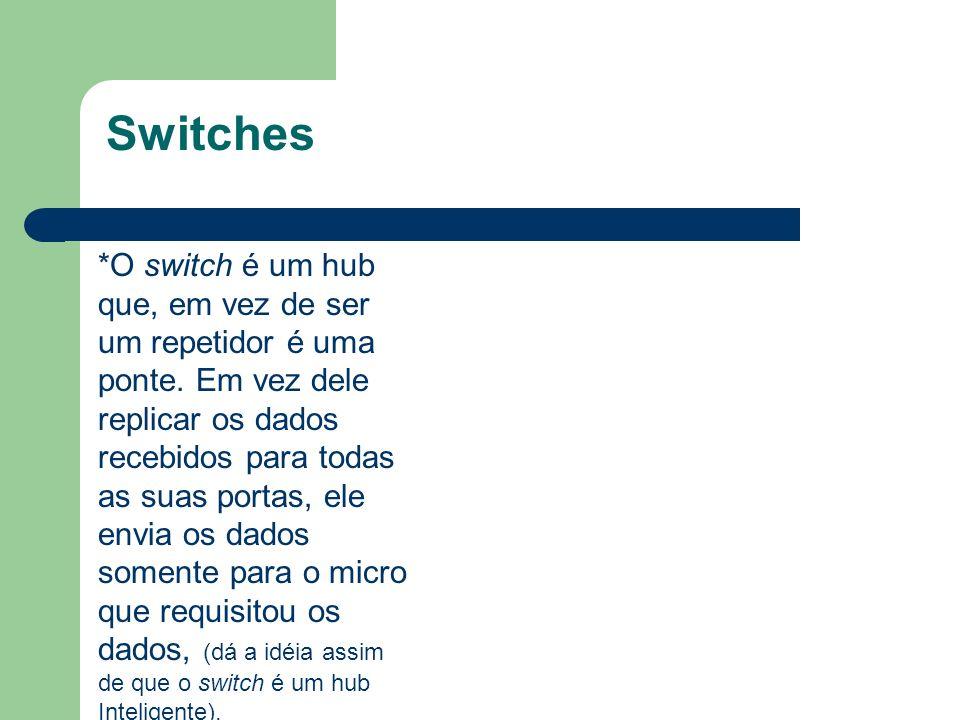 Switches *O switch é um hub que, em vez de ser um repetidor é uma ponte. Em vez dele replicar os dados recebidos para todas as suas portas, ele envia