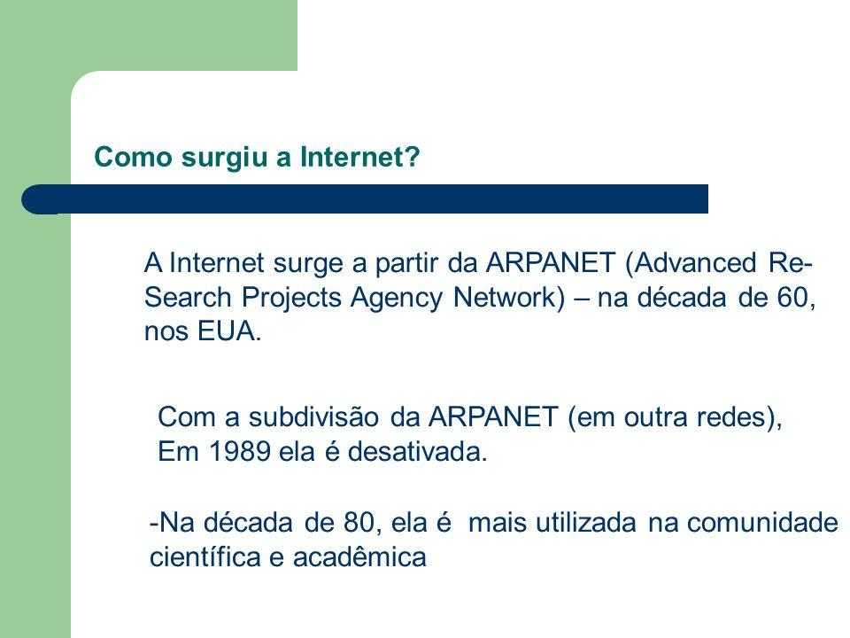 Como surgiu a Internet? A Internet surge a partir da ARPANET (Advanced Re- Search Projects Agency Network) – na década de 60, nos EUA. Com a subdivisã