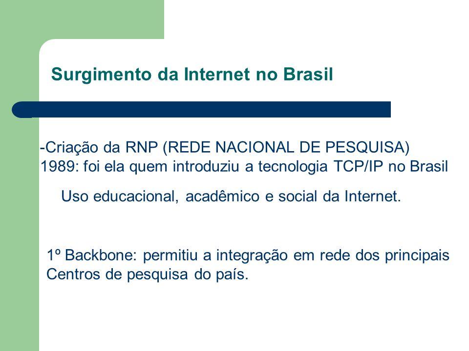 Surgimento da Internet no Brasil -Criação da RNP (REDE NACIONAL DE PESQUISA) 1989: foi ela quem introduziu a tecnologia TCP/IP no Brasil Uso educacional, acadêmico e social da Internet.