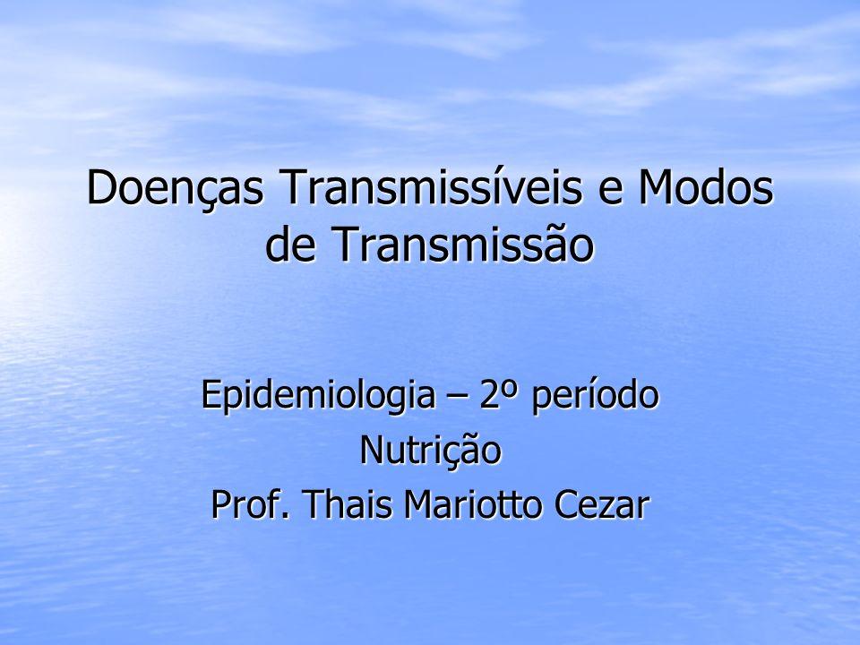 Doenças Transmissíveis e Modos de Transmissão Epidemiologia – 2º período Nutrição Prof. Thais Mariotto Cezar