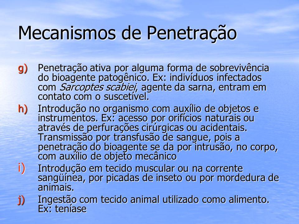 Mecanismos de Penetração g) Penetração ativa por alguma forma de sobrevivência do bioagente patogênico. Ex: indivíduos infectados com Sarcoptes scabie
