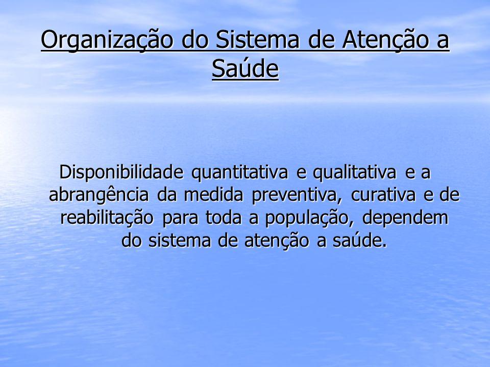 Organização do Sistema de Atenção a Saúde Disponibilidade quantitativa e qualitativa e a abrangência da medida preventiva, curativa e de reabilitação