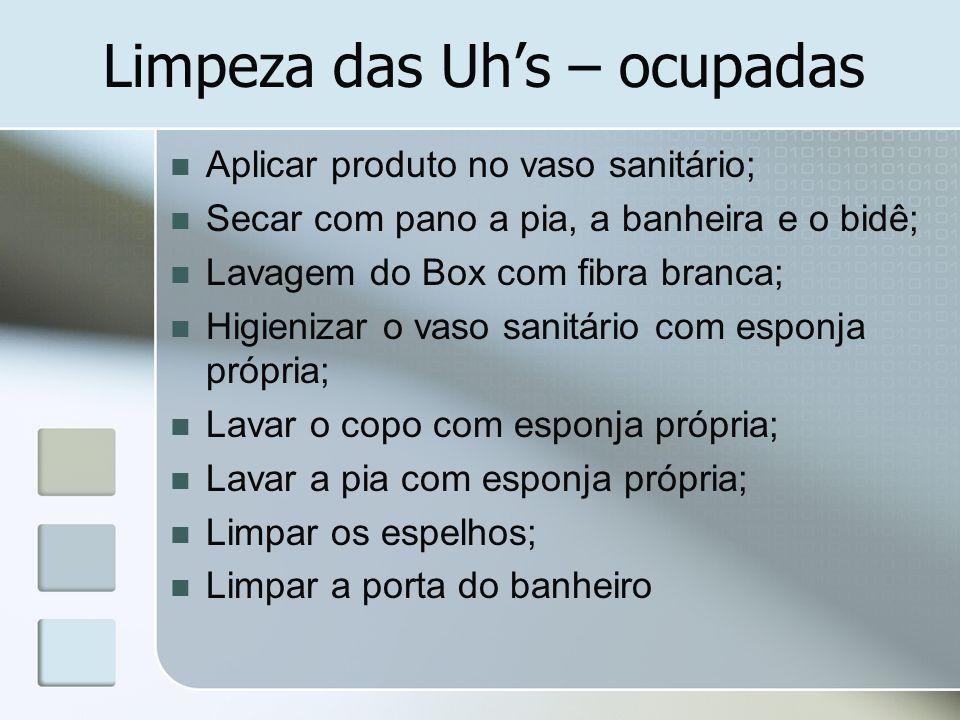 Limpeza das Uhs – ocupadas Aplicar produto no vaso sanitário; Secar com pano a pia, a banheira e o bidê; Lavagem do Box com fibra branca; Higienizar o