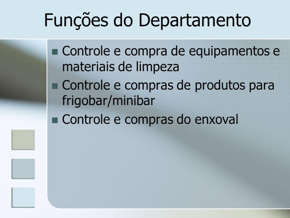 Funções do Departamento Controle e compra de equipamentos e materiais de limpeza Controle e compras de produtos para frigobar/minibar Controle e compr